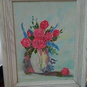 Sweetest hand painted kitty painting w/ frame